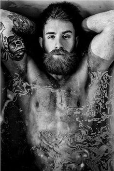 body water tattoo moustache guy bath male model hot men hot guys beard photographer sleeve tattoo Defined hairy chest portrait photography original photography bearded men WET HAIR guys with beards male muscle guys with muscles fit guys hot bearded guys Hot Men, Sexy Men, Hot Guys, Hipsters, Hairy Men, Bearded Men, Bart Tattoo, Bart Styles, Barba Grande
