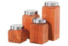 4-Pc Ribbed Square Glass Canister, Amber on OneKingsLane.com