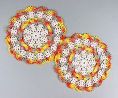 Set of 2  Crocheted Variegated Ecru Thanksgiving by ronisboutique, $22.00 #handmade #crochet #doily #fall #autumn #doily #thanksgiving