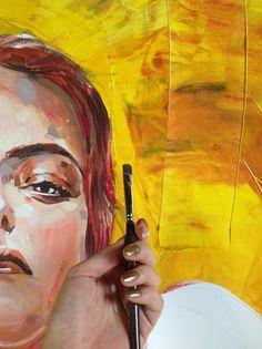 Work in progress!  Portrait from EMOTIONS serie... Yellow///Giallo... Detail.  Irina Sokolova Guida ©2012  80x80cm, canvas, acrilycs