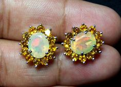 8*10 MM Sunset Opal Insane Fire Faceted Ethiopian Opal & Citrine Sterling Silver Cluster Earring #MyJewelryAffair #Cluster