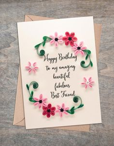 Birthday card for someone special for a good friend for best | Etsy Birthday Greetings For Girlfriend, Best Friend Birthday Cards, Creative Birthday Cards, Simple Birthday Cards, Birthday Cards For Boyfriend, Happy Birthday Images, Happy Birthday Greetings, Birthday Wishes, Dad Birthday