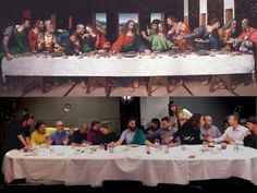 Finding innovative uses of Free Culture: The Europeana Creative tourism Pilot team recreating the Last Supper in a restaurant in Mons. Great fun!