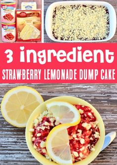 Strawberry Lemonade Dump Cake Recipe! 3 Ingredients never tasted so good!! This lip-smackin' dessert with tangy lemon, sweet strawberries, and a buttery crumble topping is just what your Summer needs! Plus, it's one of the EASIEST things you'll ever make!! Go grab the recipe and give it a try this week! Easy Summer Desserts, Easy Summer Meals, Easy Desserts, Summer Recipes, Strawberry Lemonade Cake, Strawberry Recipes, Dump Cake Recipes, Dessert Recipes, Dump Cakes