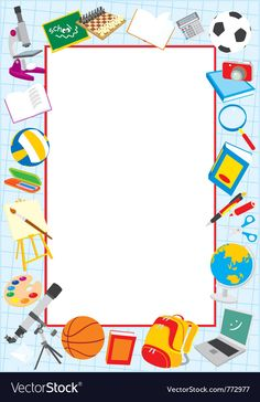 School border vector image on VectorStock Frame Border Design, Boarder Designs, Page Borders Design, Creative Poster Design, Creative Posters, Portfolio Cover Design, School Border, Certificate Design Template, Boarders And Frames