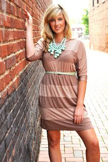 mocha stripe dress  adella apparel: fall arrivals...