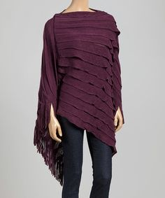 This Top It Off Plum Ruffle Poncho by Top It Off is perfect! #zulilyfinds