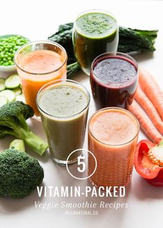 5 Vitamin Packed Veggie Smoothie Recipes -Need to get more veggies? These yummy veggie smoothie recipes, full of fiber, protein, vitamins and minerals, are a more satisfying alternative to juices. Fruit Smoothies, Vegetable Smoothie Recipes, Juice Smoothie, Smoothie Drinks, Healthy Smoothies, Healthy Drinks, Avocado Smoothie, Smoothies With Veggies, Fitness Smoothies