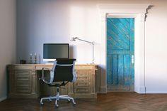 Blue Cabin Door Mural Hanging Wall Art, Wall Hangings, Cabin Doors, Vinyl Doors, Custom Wall Murals, Door Murals, Graffiti, Wall Decor, Chair