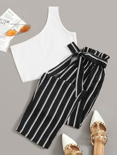Shop One Shoulder Rib-Knit Crop Top With Striped Belted Pants at ROMWE, discover more fashion styles online. Girls Fashion Clothes, Teen Fashion Outfits, Outfits For Teens, Girl Outfits, Cute Comfy Outfits, Cute Summer Outfits, Stylish Outfits, Fashion Mode, Look Fashion
