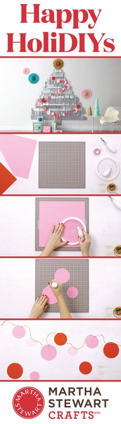 Craft a simple and beautiful garland with the Martha Stewart Crafts Circle Cutter.