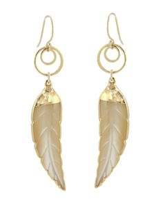 Mother of Pearl Leaf Earrings by Peggy Li Creations.