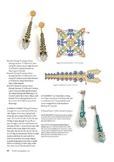 from Beadwork oct nov 2013 Seed Bead Earrings, Beaded Earrings, Beaded Bracelets, Jewelry Making Tutorials, Beading Tutorials, Beaded Beads, Beading Patterns Free, Beaded Jewelry Designs, Beading Techniques