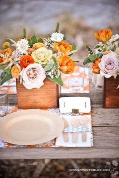 Vintage picnic table wedding reception