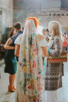 A Sequin Veil for a Fabulously Colourful and Quirky Wedding - Meine Hochzeit - Sequin Wedding, Wedding Veils, Boho Wedding Dress, Wedding Outfits, Bridal Headpieces, Wedding Hair, Bridal Hair, Dream Wedding, Colored Wedding Dresses