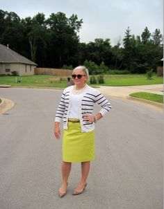 Casual Business, bright yellow skirt. plus size.