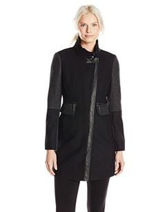 Kensie Women's Color Block Wool Coat, Black/Denim, Large
