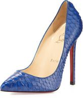 Christian Louboutin-christian louboutin pigalle python pointtoe red sole pump blue