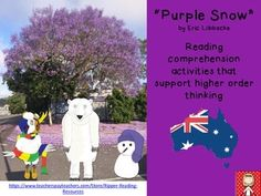 """Did you know that """"snow"""" is purple in Australia and that it """"snows"""" during late Spring and early Summer?Follow Cockatoo and Polar Bear as they investigate the purple snow in Grafton.Includes 20 pages:- cloze activity about jacarandas- 4H reading strategy bookmarks, posters and questions sort- jacaranda photos for bulletin board displays- word workPlease note that the purchase of this resource is for single classroom use only and is not to be distributed further in any form."""