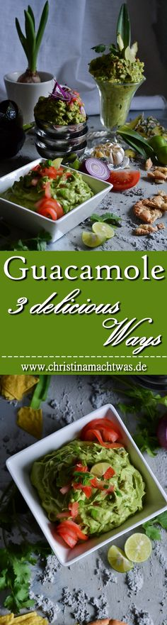 Hausgemachte Guacamole in drei leckeren Varianten. z.B. mit gebackenem Knoblauch oder Ananas oder aber meine super spezial Mischung! ---- Homemade Guacamole with roasted Garlic, Pineapple or my super special (in German).