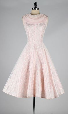 1950s pink chiffon daisy print lace dress