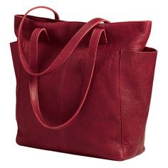 Just right for the season is the deep claret of this classic woman's tote from the Duluth Trading Company for $139.50. Made of oiled top-grain leather that looks even better when it's been well-loved and used, it also comes in a rich brown. It zips closed and is great for carrying a Kindle or Nook!