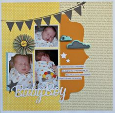 Baby layout. Like the large half label shape and pennant banner.