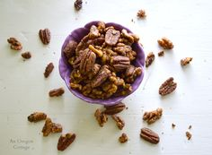 A super easy recipe for spiced nuts that uses good-for-you spices like turmeric and cayenne and no sugar.