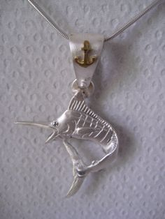 Blue Marlin Diamond 18K Solid Gold Silver by NauticalFeeling, $155.00