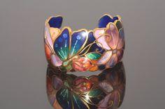 Gorgeous champleve enamel cuff style bracelet by David Kuo
