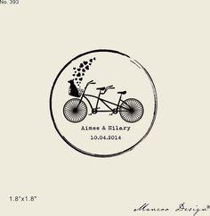 Tandem bike stamp  for wedding favors initias by mancoostamp, $12.00