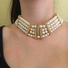 """Pearl Statement Necklace Pearl and CZ diamond necklace. 1.5"""" thick.  Adjustable length. NWT. Jewelry Necklaces"""