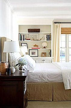 neutral bedroom with built in shelves- looking at how to position doo-lollies-and-play-pretties on my master bedroom build ins.