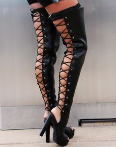Enjoy our buy on get pair FREE Shoe Sale going on now in-store only. Thigh High Platform Boots, Thigh High Boots, High Heel Boots, Pumps Heels, Stiletto Heels, Leder Outfits, Fresh Shoes, Hot High Heels, Open Toe Shoes