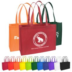 Promotional Standard Nonwoven Tote Bag with Gusset - Reusable Shopping Tote Bag | Advertising Trade Show Bags | Customized Trade Show Bags