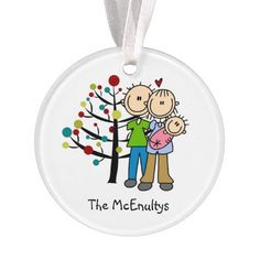 An adorable Christmas holiday stick figure acrylic ornament features a stick figure new dad and mom holding a baby girl in a pink blanket in front of a decorated holiday tree. It also has an area you can add your family name before ordering. The ornament back features the same design with an area you can easily customize to say Christmas 2014 or the current year. This cute stick figure Christmas holiday acrylic ornament will be cherished for years to come!