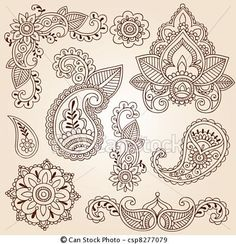 Vector - Henna Mehndi Doodle Design Elements - stock illustration, royalty free illustrations, stock clip art icon, stock clipart icons, logo, line art, EPS picture, pictures, graphic, graphics, drawing, drawings, vector image, artwork, EPS vector art