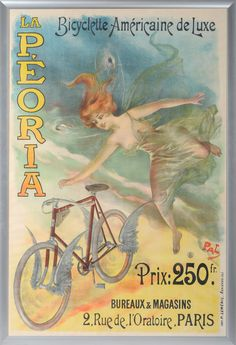 """A French Advertising Poster for """"La P'Eoria Bicyclette Americaine De Luxe"""", lithographed in colours, featuring a winged nymph and a winged bicycle, by Pal, 159cm by 106cm, framed"""