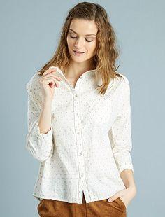 18Chemise en coton plumetis Femme à 18,00€ - Découvrez nos collections mode à petits prix dans notre rayon Chemise, chemisier.