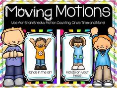 These full color half page Movement and Motion Cards are sure to bring some action to your classroom! Use them for the much needed Brain Breaks to get those kids up and moving!Great for counting out loud. ( My class will all sit down on the carpet and we will count to a specific number, changing movements for every 10 numbers.