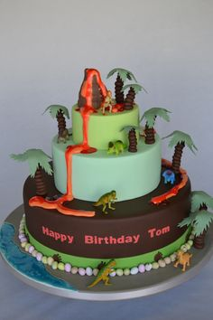 3 Tier Volcano and Dinosaur Bespoke Cake - Cake Gallery - Cakeology