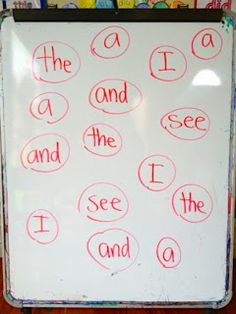 Split class into 2 teams. Teacher writes words on whiteboard. One person from each team gets an eraser. Teacher calls out a word.
