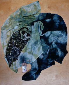 TOTEM ANIMAL Hand Dyed Silk Scarf  Hand Drawn by laurieazuregee