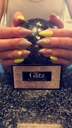 Neon yellow nails. Nude nails. Glitter nail designs. Almond nails. Stiletto nails. 2016 nails. Cute nail designs
