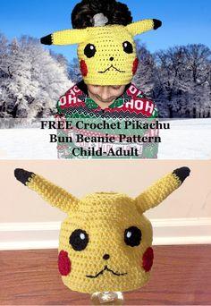 FREE Crochet Pikachu Bun Beanie Pattern: Child- Adult