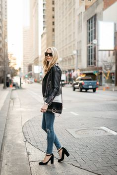 Fall Outfit, Winter Outfit, Black Leather Jacket, Grey Sweater, White Button-Down Shirt, Denim Ripped Skinny Jeans, Black Ankle Strap Pumps, Chloe Faye Handbag