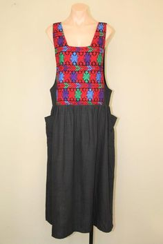 Vtg 70s Embroidered Mexcian Sleeveless Ethnic Cotton Pinafore Jumper Dress sz L #Unbranded #Maxi #Casual
