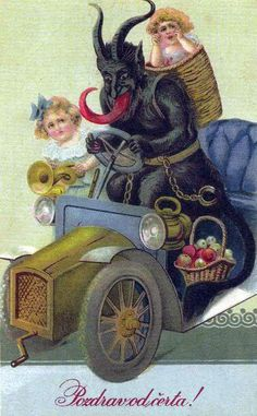Austrians are a bit tougher on kids, for them it's Krampus, one of the Devil's evil minions -- who comes and drags horrible kids (usually preteens or teenagers) off to hell.