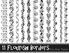 Instant Download 11 Black Flourish Border Clipart Swirl Border Clip Art Black Lace Border Clip Art Scrapbooking Border Page Border 0218
