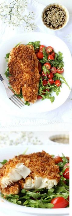 A perfectly portioned dinner for two, this Fried Onion-Crusted Tilapia w/ Sesame Ginger Marinade bakes up in 20 minutes making it the perfect meal for a busy weeknight. | date night, easy delicious, fish dinner